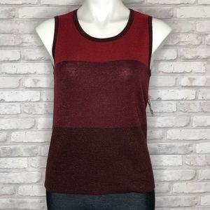 Anne Klein color block red tank, NWT, small